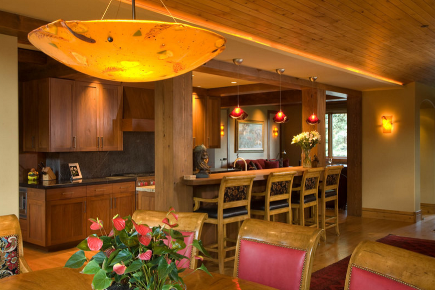 Dinning Room with bar and red chairs